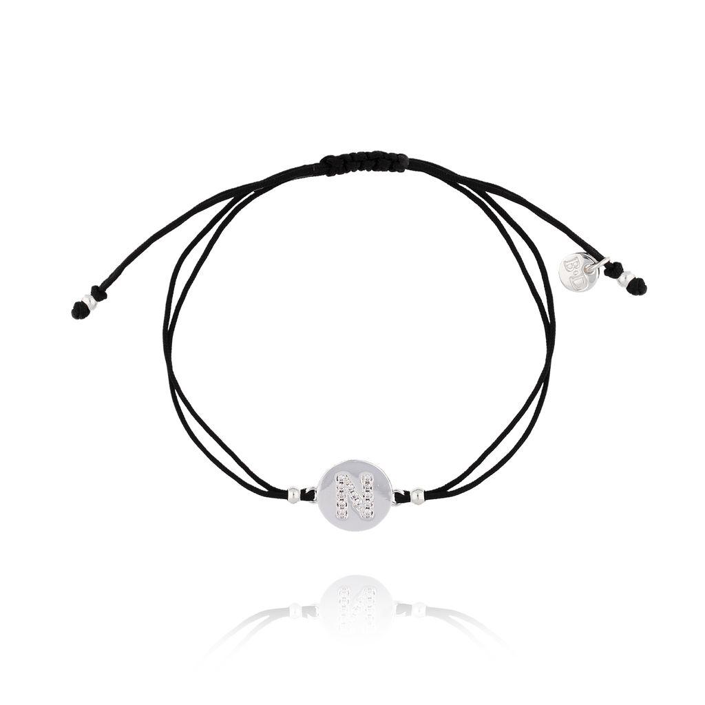 Bransoletka srebrna na sznurku z literką N  BAT0018