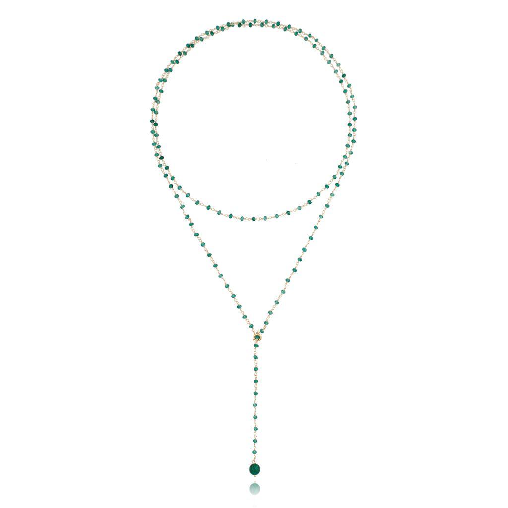 Naszyjnik zielony z agatami i malachitem NPA0108