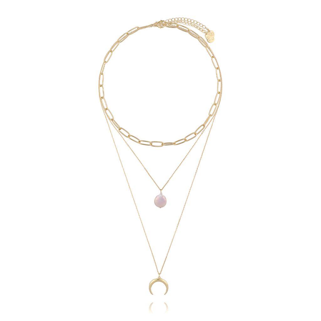 Naszyjnik potrójny złoty z perłą i księżycem NRG0233