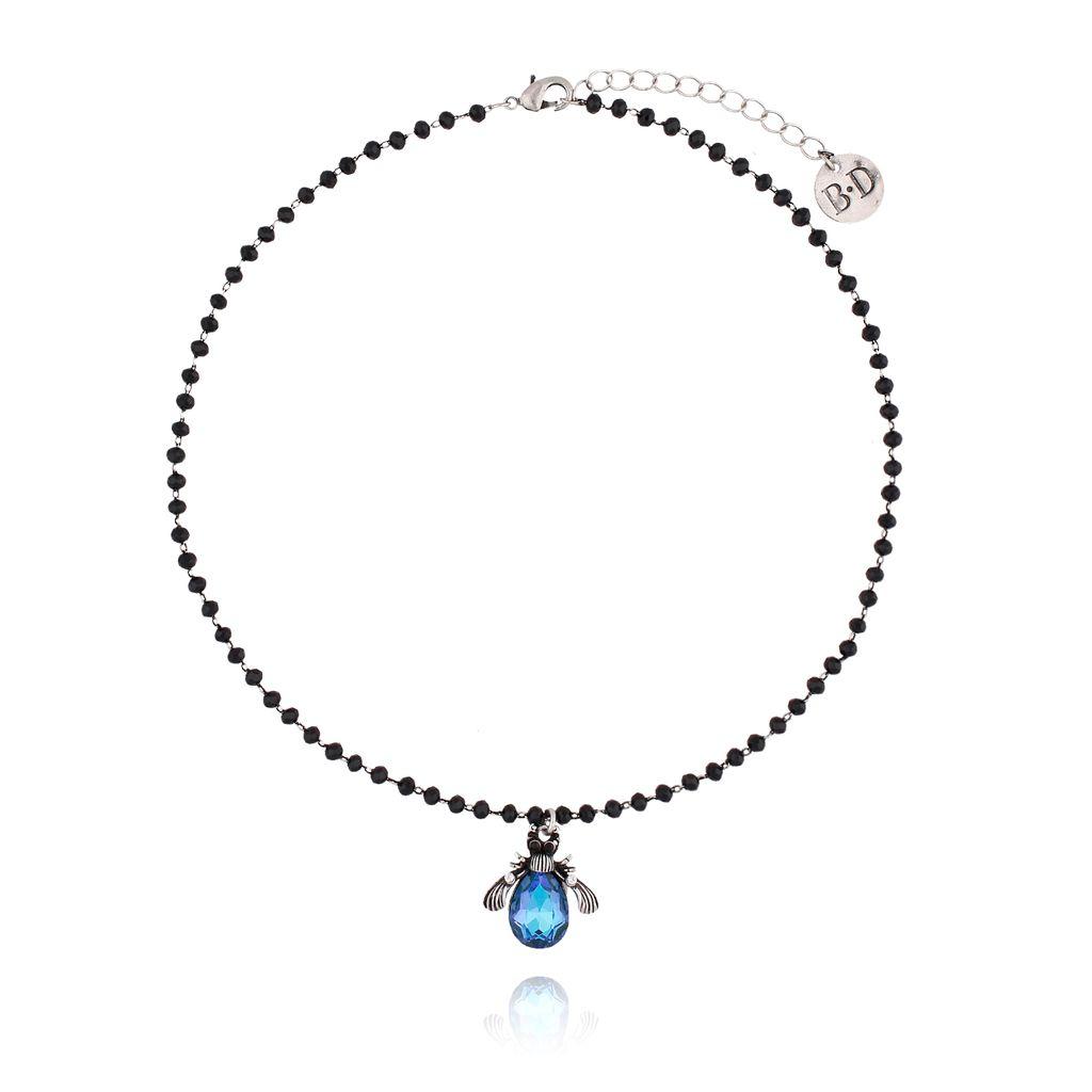 Naszyjnik niebieski żuk z kryształkami NMI0034