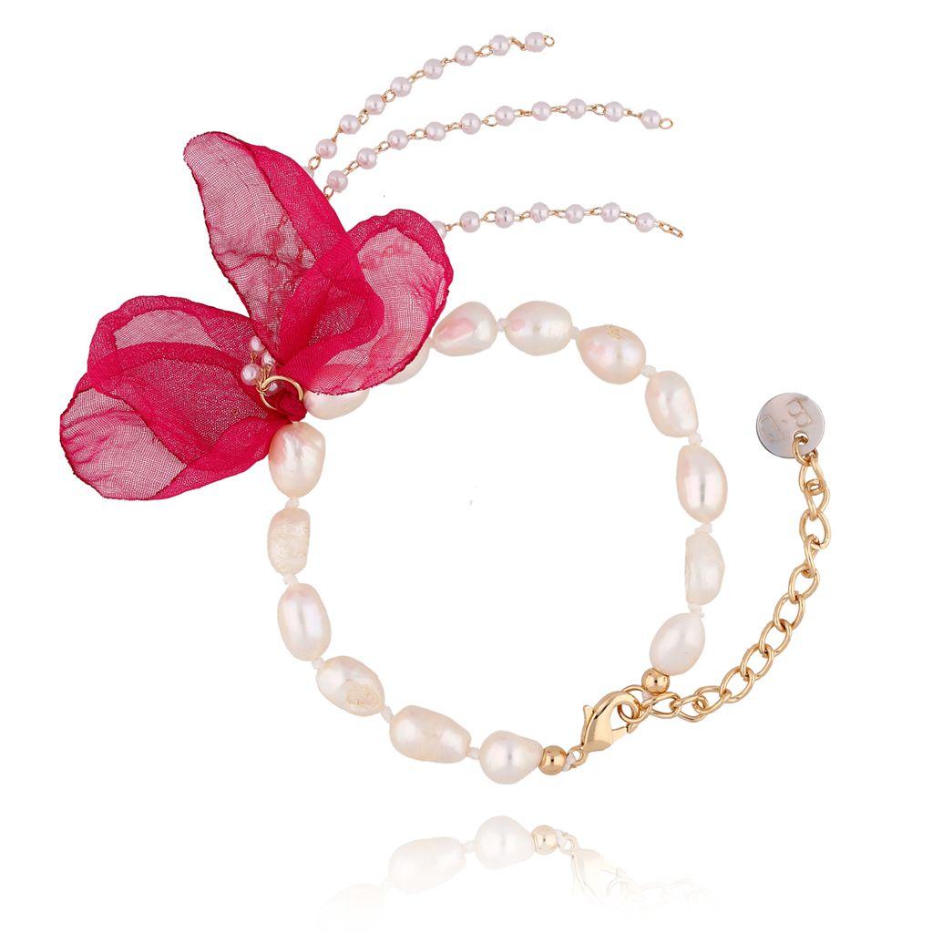 Bransoletka z perłami i z fuksjowym kwiatem  BBL0053