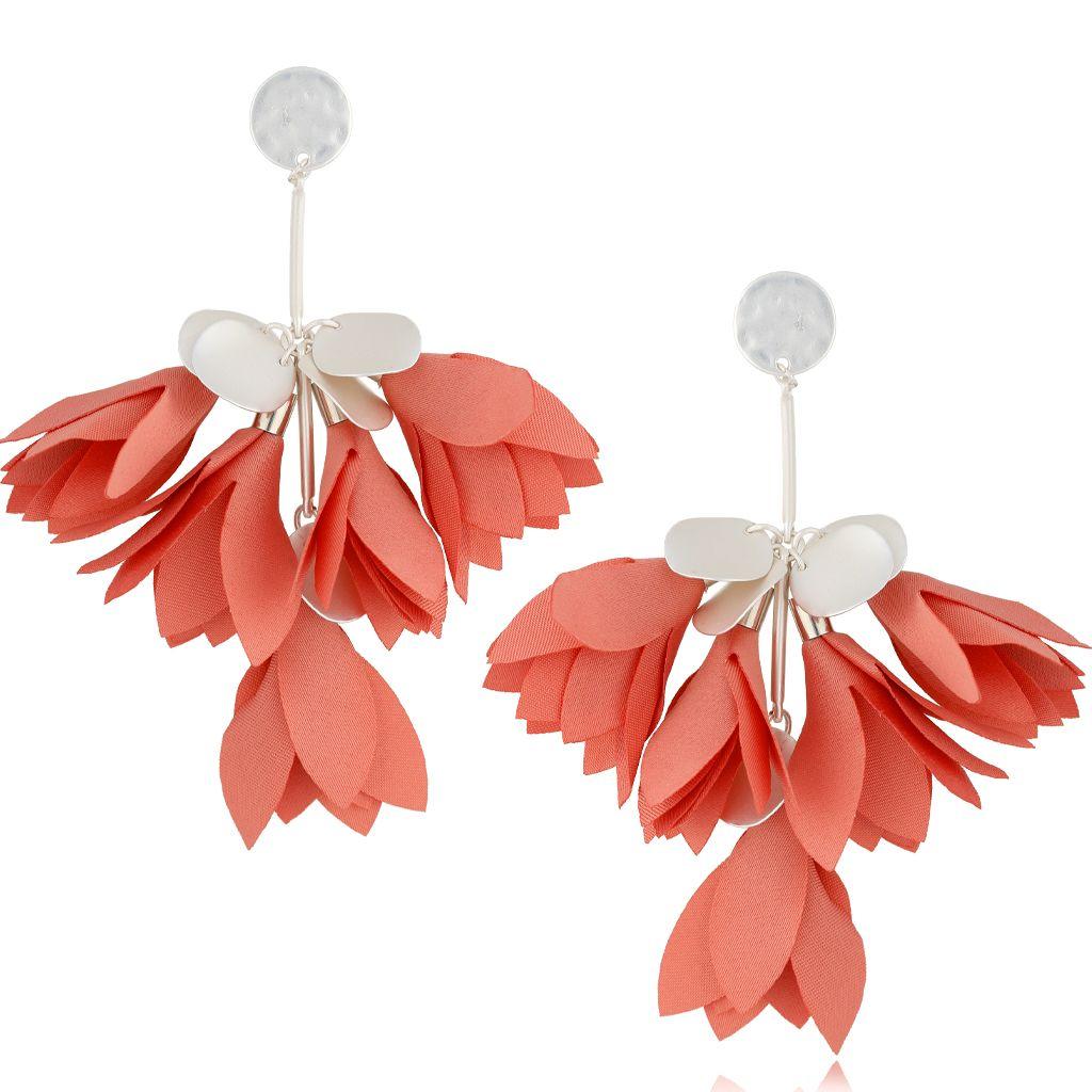 Kolczyki satynowe kwiaty morelowe KBL0513