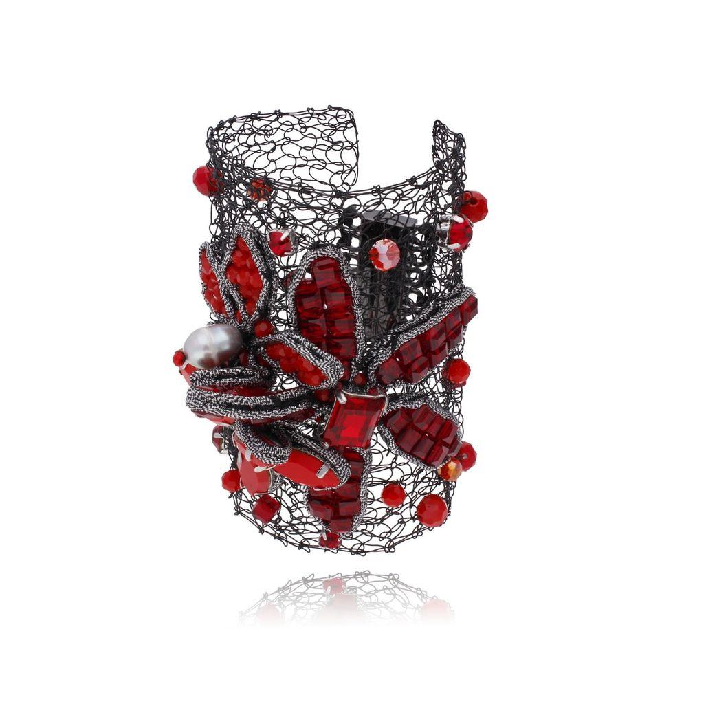 Bransoletka czerwona kryształowy kwiat BMS0612