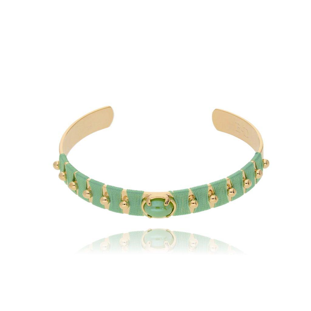 Bransoletka złota obręcz z koralikiem i zieloną nicią BNE0005