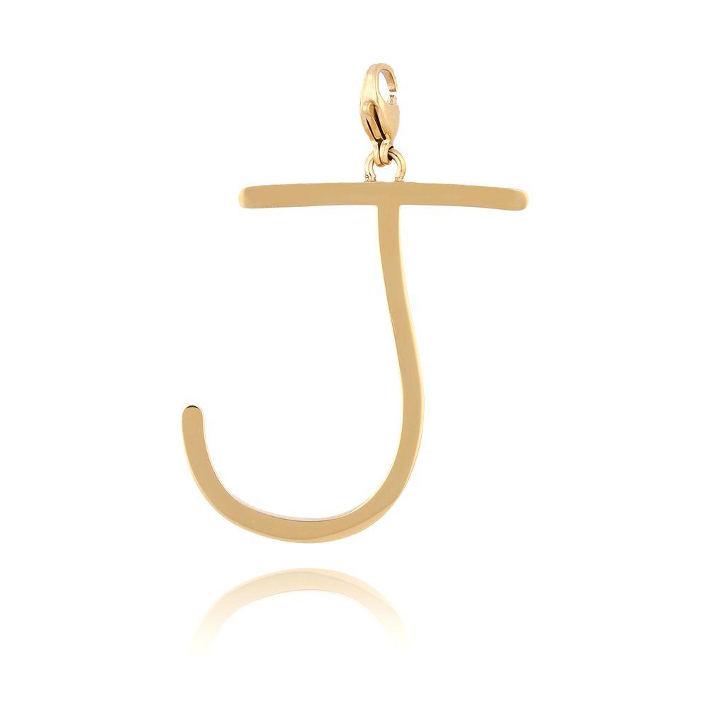 Zawieszka ze stali szlachetnej złota literka J Alphabet NAT0056