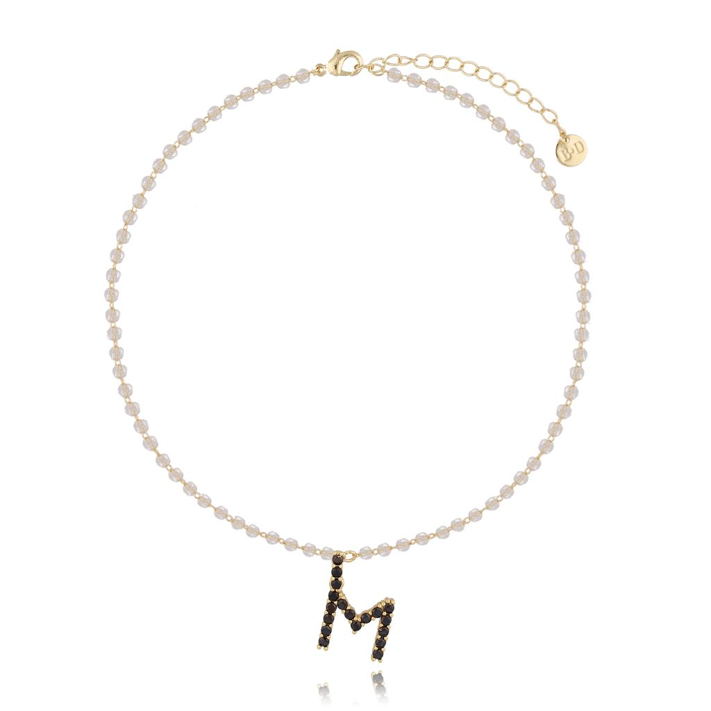 Naszyjnik kryształowy łańcuszek z literą M NRG0198