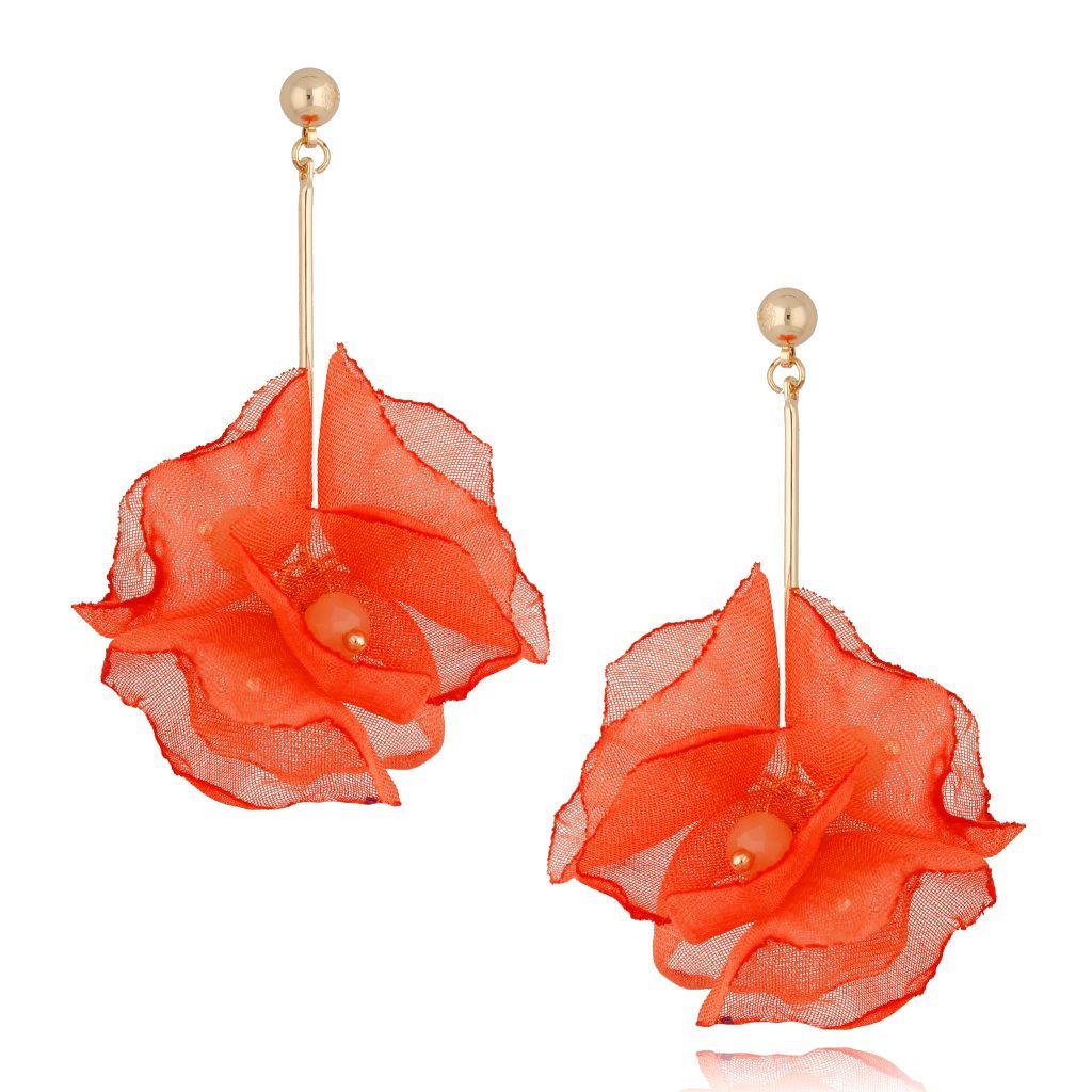 Kolczyki kwiaty neonowe pomarańczowe KBL0683