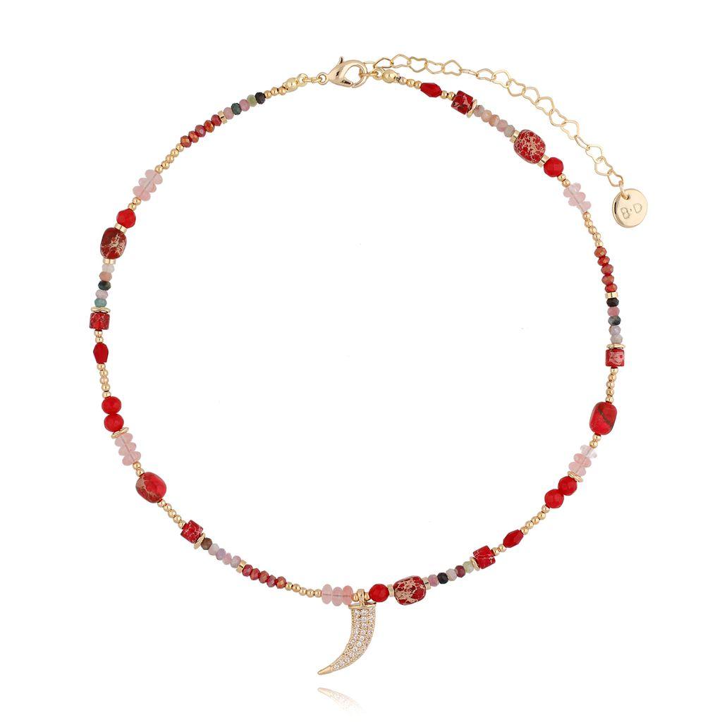 Naszyjnik czerwony z kłem i kamieniami NPA0139