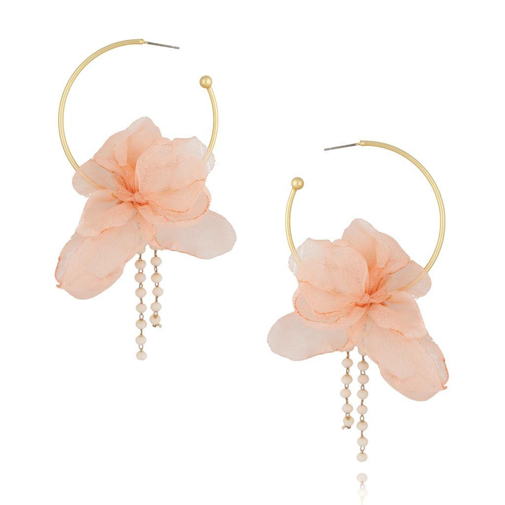 Kolczyki jedwabne kwiaty łososiowe KBL0411