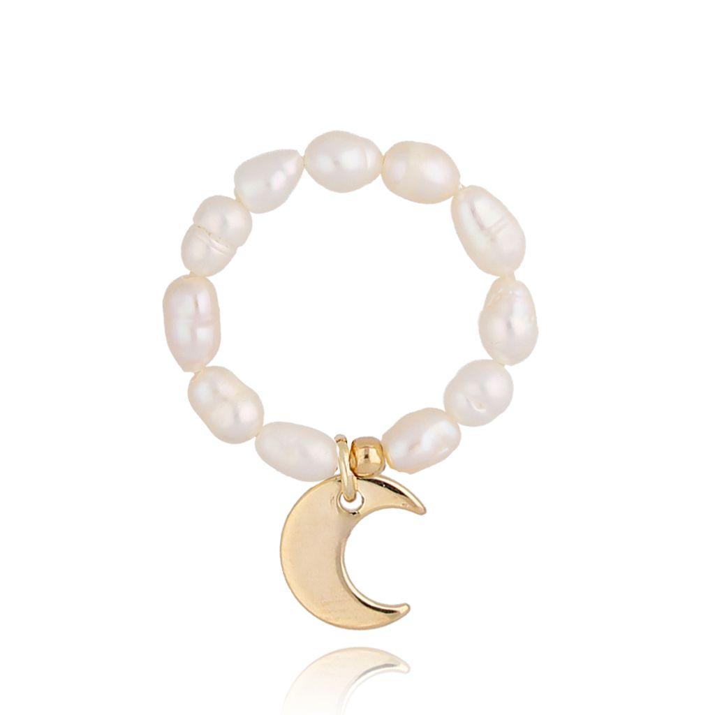Pierścionek elastyczny z perełek z księżycem PPE0035
