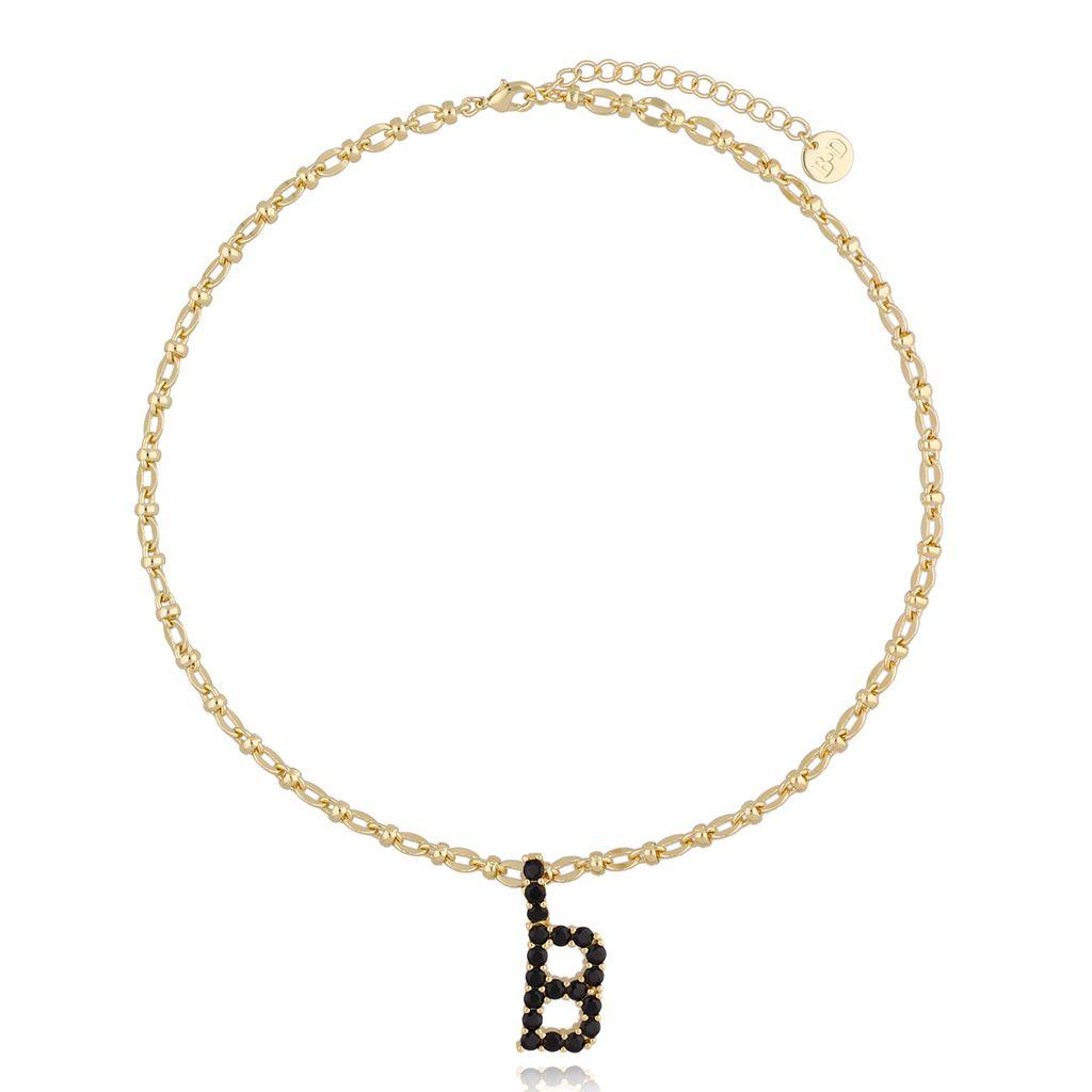 Naszyjnik złoty łańcuch z literą B NRG0225
