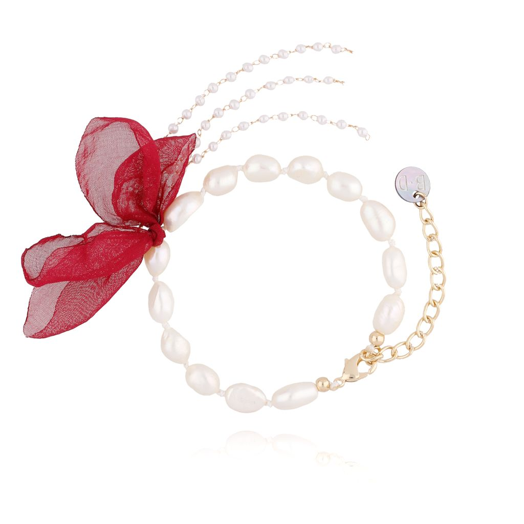 Bransoletka z perłami i z bordowym kwiatem  BBL0062