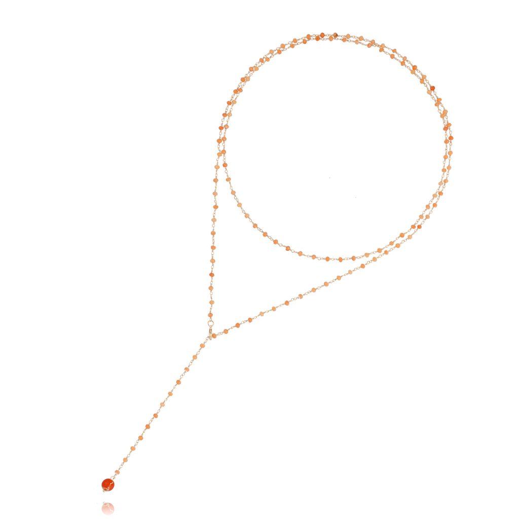 Naszyjnik pomarańczowy z agatami NPA0156