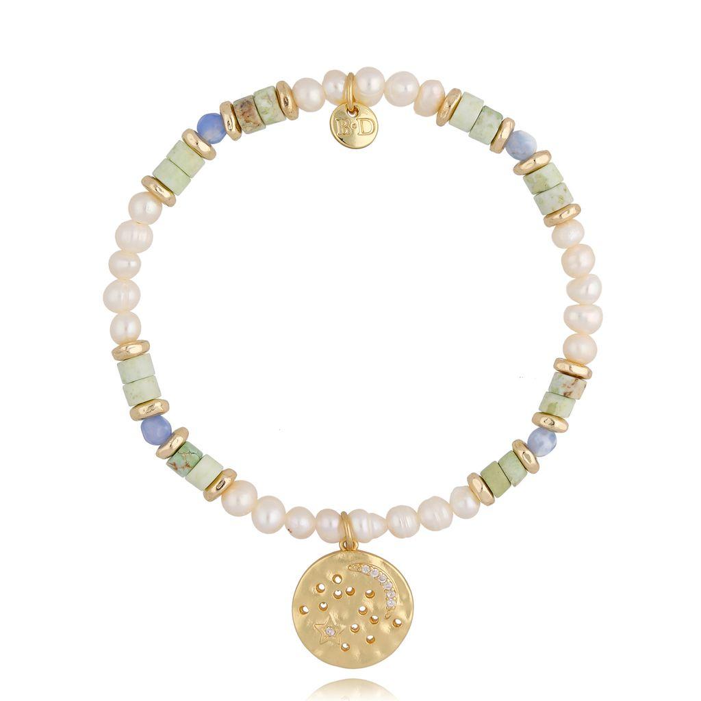 Bransoletka z  perłami niebiesko zielona BSC0809