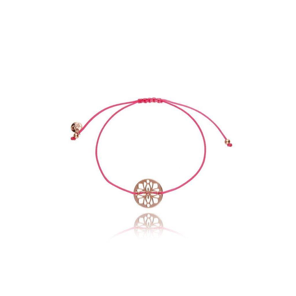 Bransoletka na sznurku różowa - rozetka BGL0300