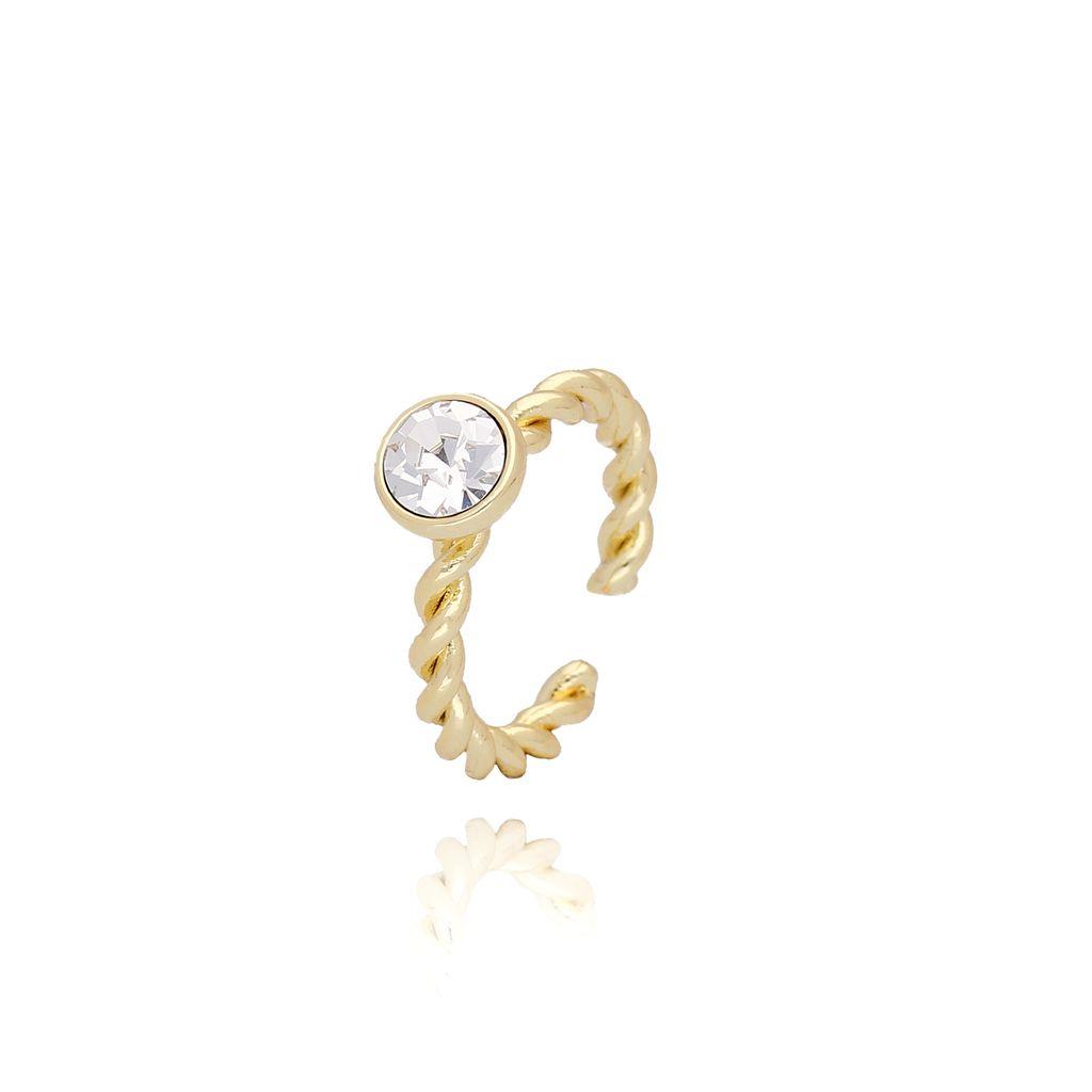 Pierścionek złoty z przezroczystymi kryształkami PRG0083 rozmiar 12