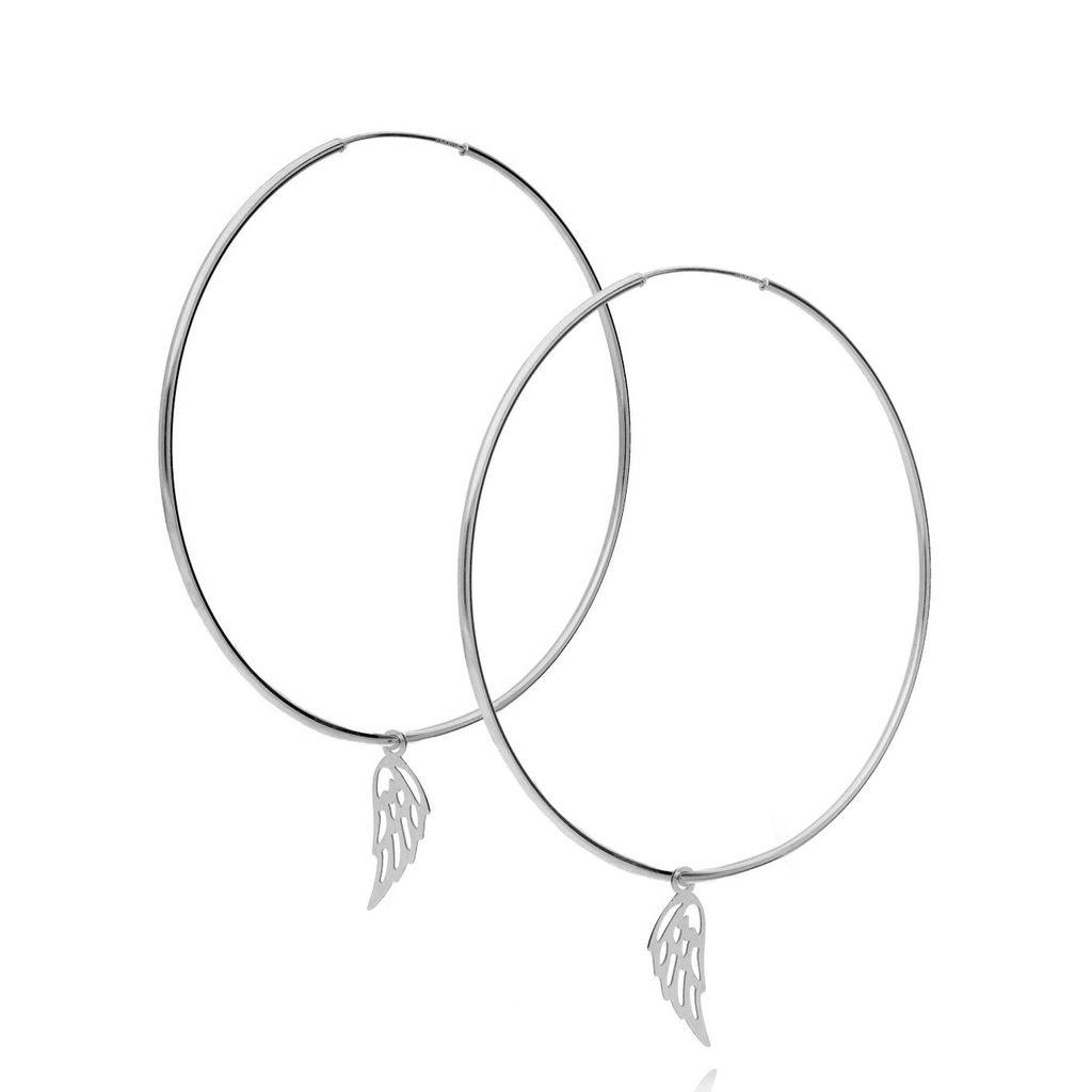 Kolczyki srebrne koła ze skrzydłami KSE0010