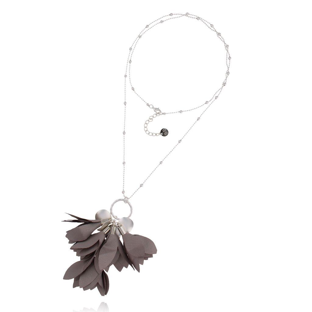 Naszyjnik srebrny z  szarym kwiatem NBL0018