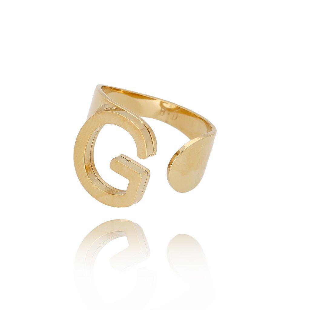 Pierścionek złoty ze stali szlachetnej z literką G PSA0088