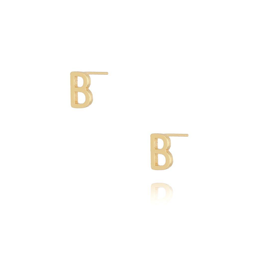 Kolczyki wkrętki z literką B złote KAT0002