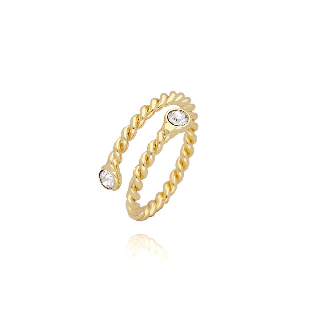 Pierścionek złoty z przezroczystymi kryształkami PRG0076 rozmiar 13