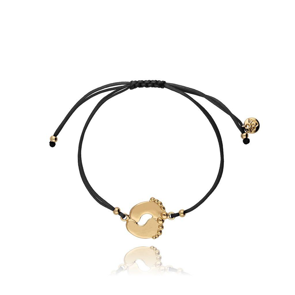 Bransoletka czarna ze złotą stópką BGL0443