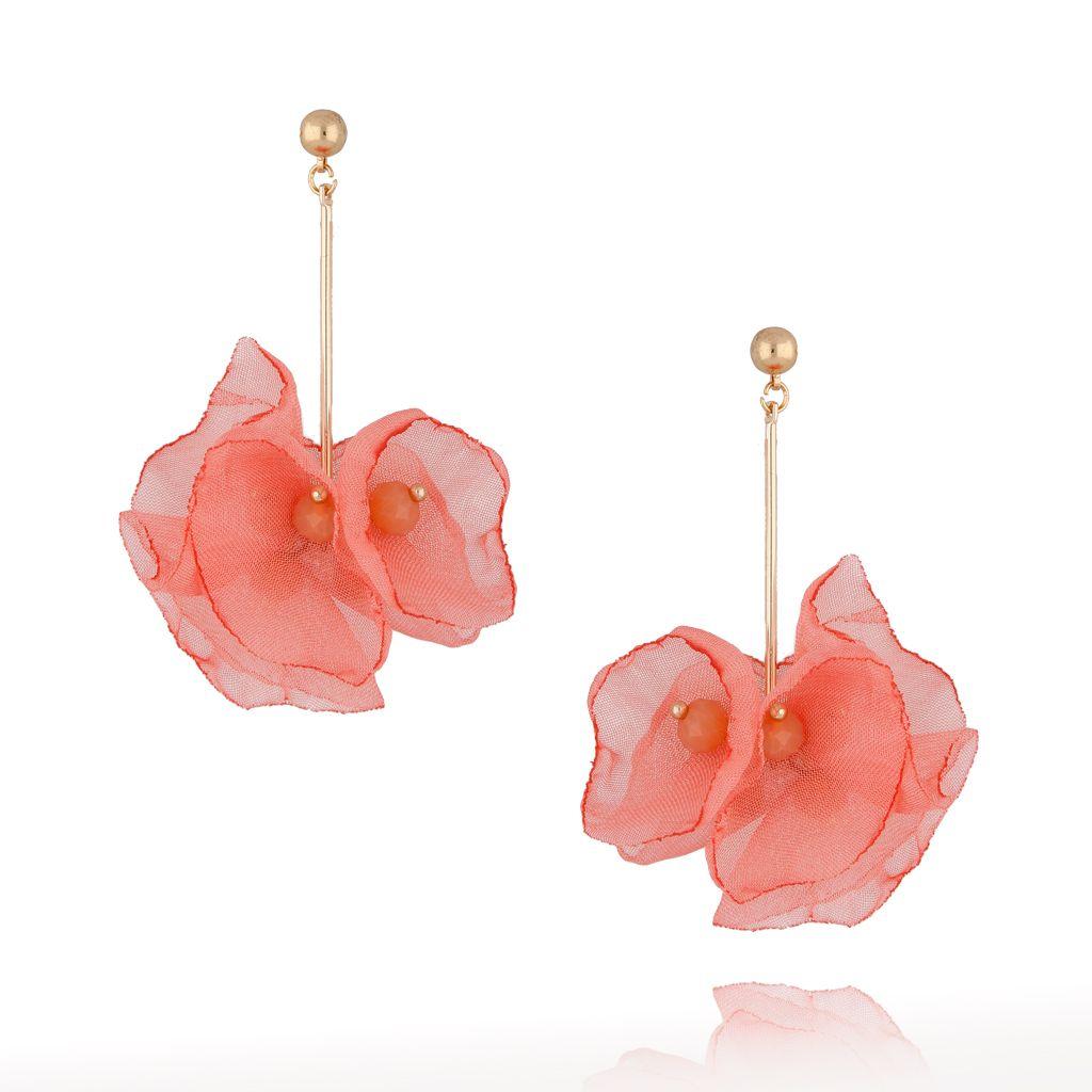 Kolczyki kwiaty jedwabne ceglane KBL0389