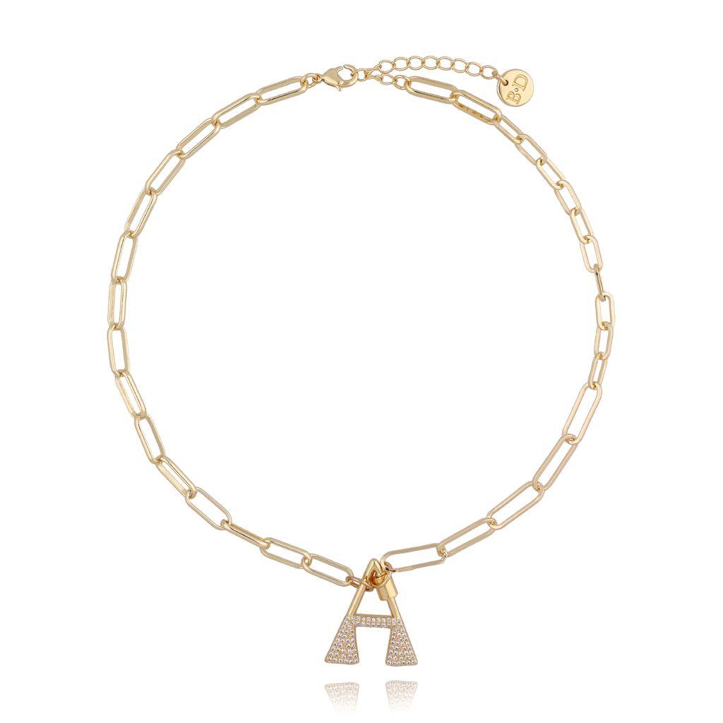 Naszyjnik złoty łańcuch z literą A NSL0010