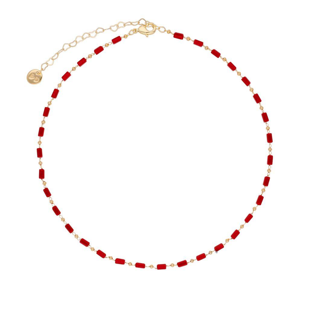 Choker Olivia z  czerwonych kryształków  NOA0012