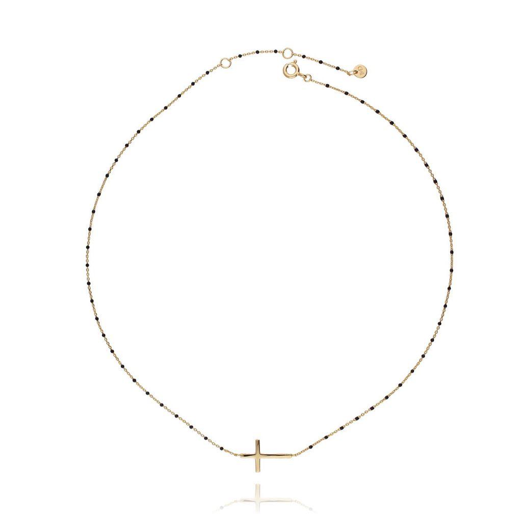 Naszyjnik srebrny krzyżyk pozłacany NFA0009