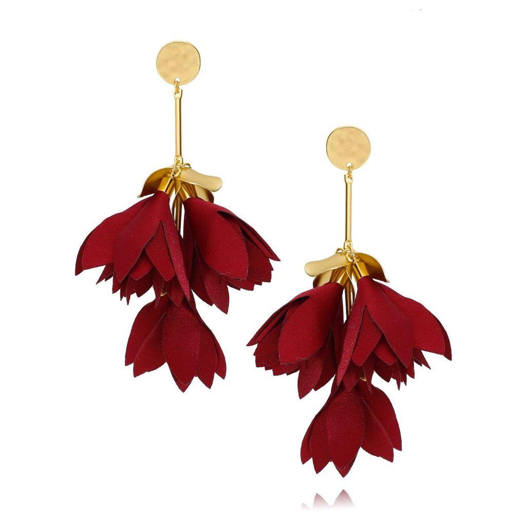 Kolczyki satynowe kwiaty czerwono bordowe KBL0432