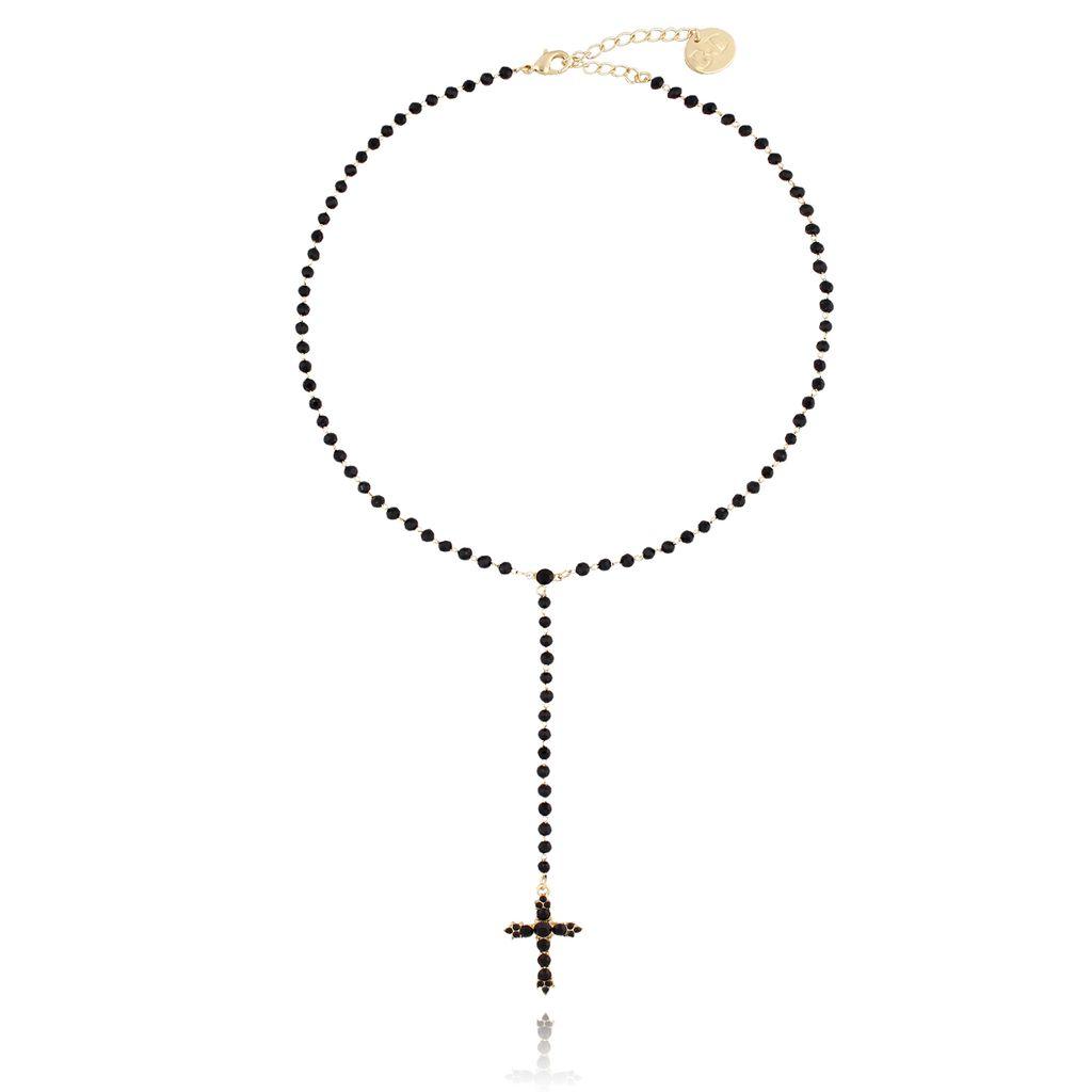 Naszyjnik złoty z krzyżykiem i czarnymi kryształkami NRG0134
