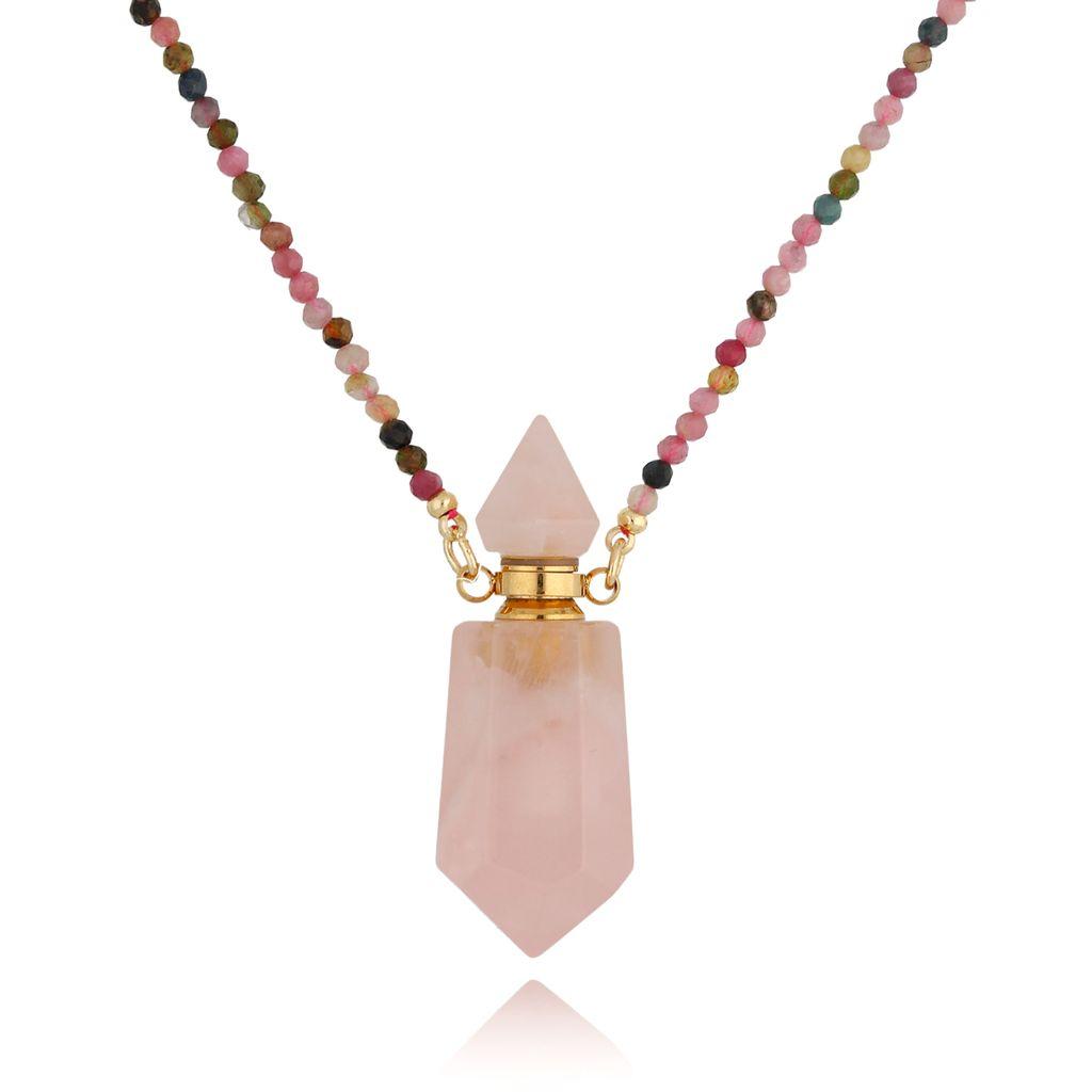 Naszyjnik perfumetka długa z kwarcem różowym NPA0201