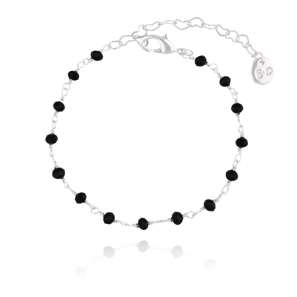 Bransoletka  srebrna z czarnymi kryształkami  BOA0009