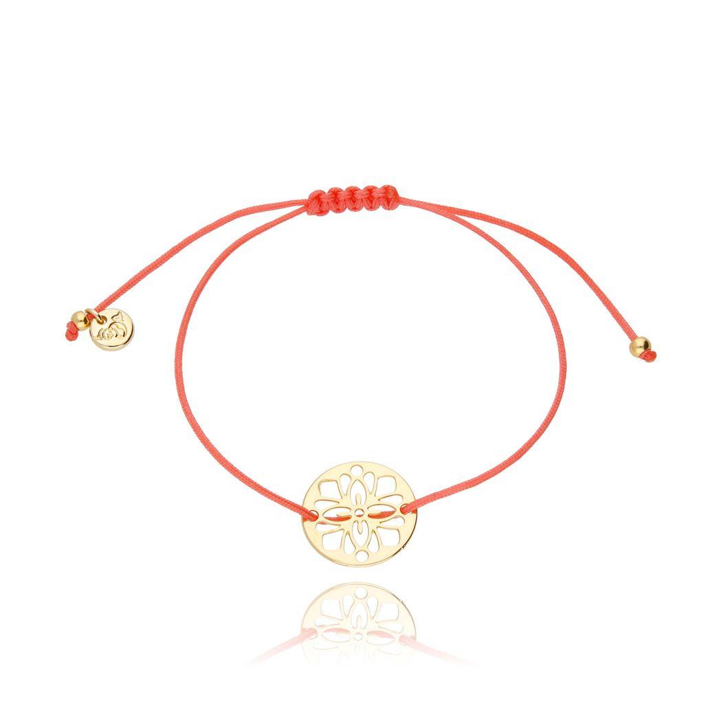 Bransoletka na sznurku pomarańczowo różowa - rozetka BGL0256