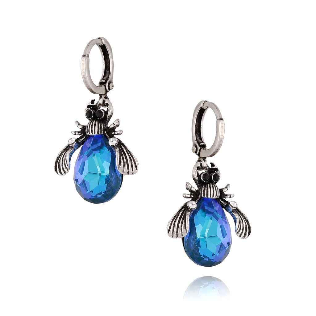 Kolczyki niebieskie żuki wiszące  KMI0108