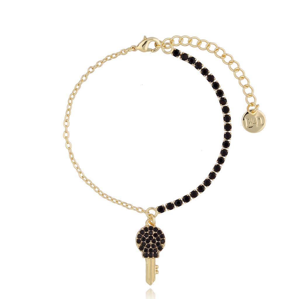 Bransoletka złota z czarnymi kryształkami i kluczykiem BMU0018
