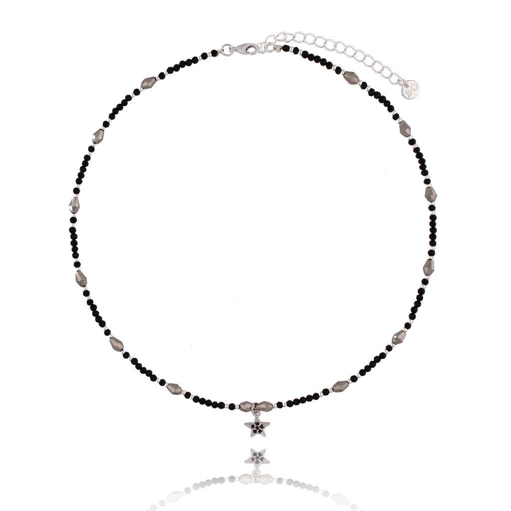 Naszyjnik z onyksami i gwiazdką NSC0103