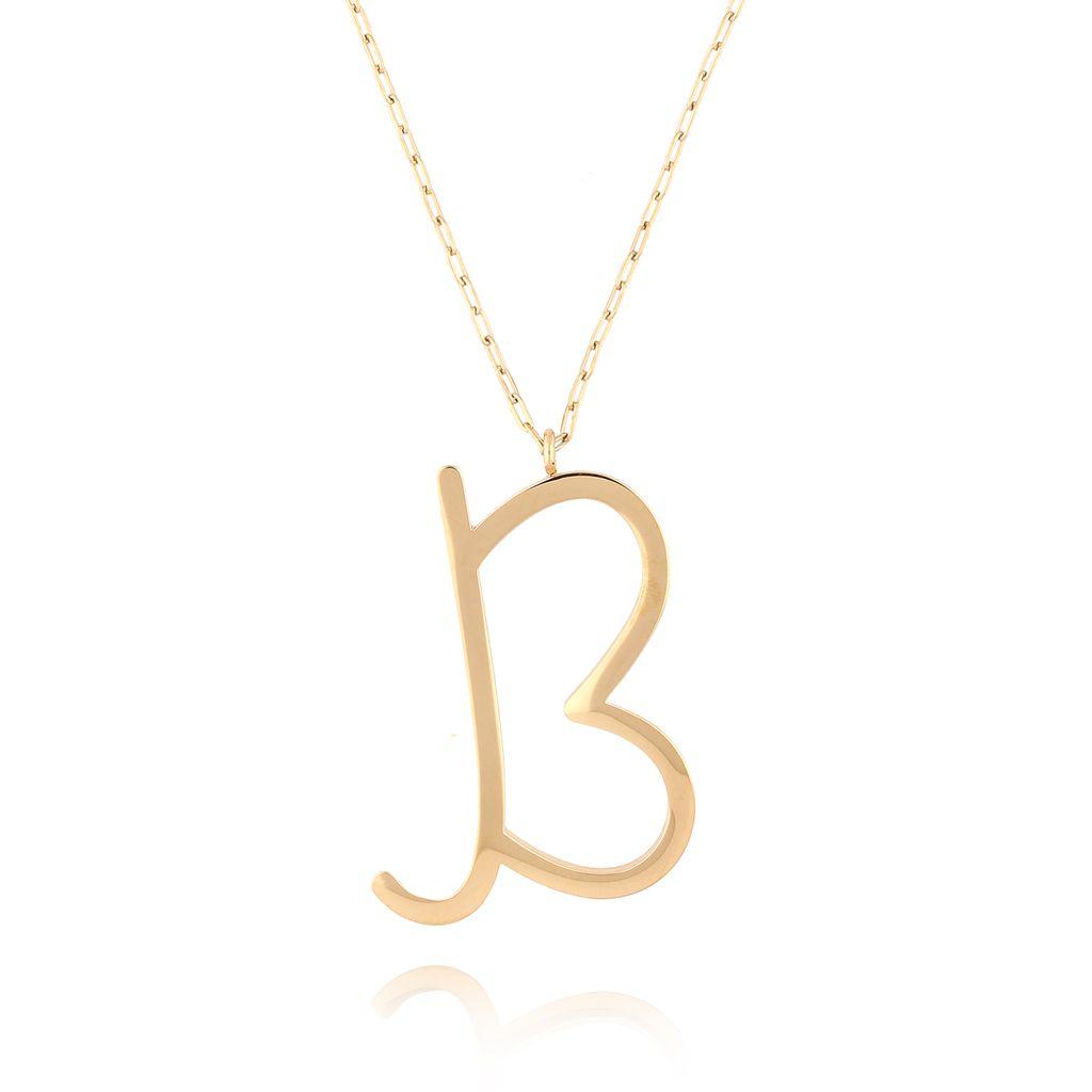 Naszyjnik ze stali szlachetnej złoty literka B Alphabet NAT0018