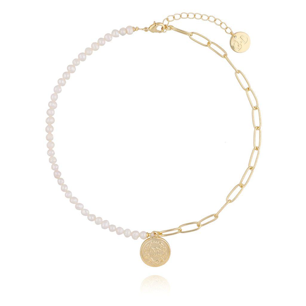 Naszyjnik złoty z monetką i perełkami NRG0203