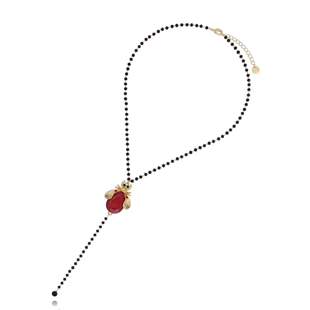 Naszyjnik czerwony żuk z czarnym łańcuszkiem NMI0051
