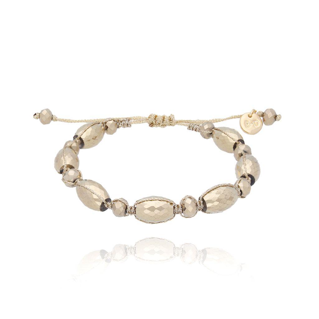 Bransoletka pleciona ze złotymi kryształkami BBL0112