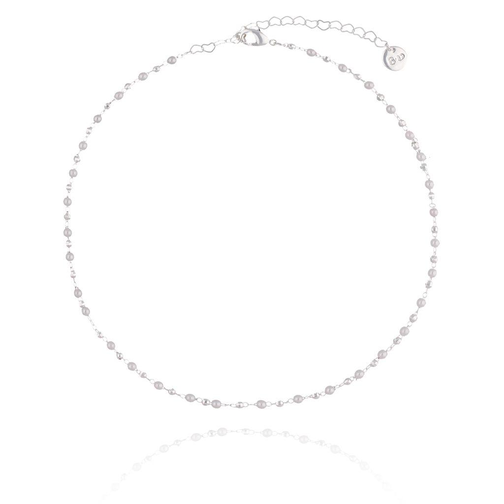 Choker Olivia srebrny z perełkami  NOA0020