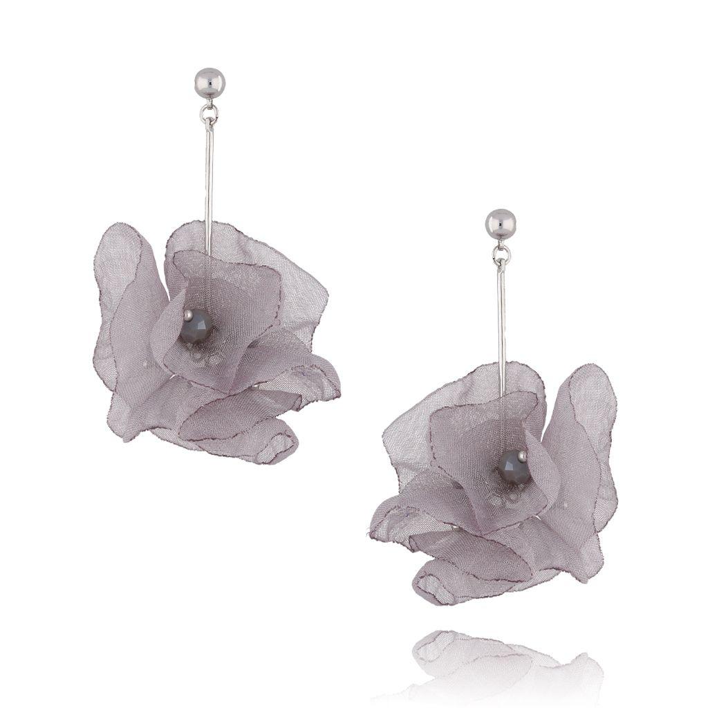 Kolczyki kwiaty jedwabne szare KBL0392