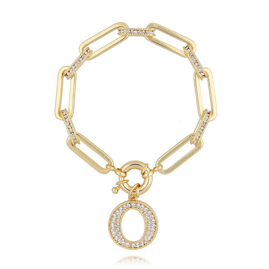 Bransoletka złoty łańcuch z okrągłą zawieszką BRG0133