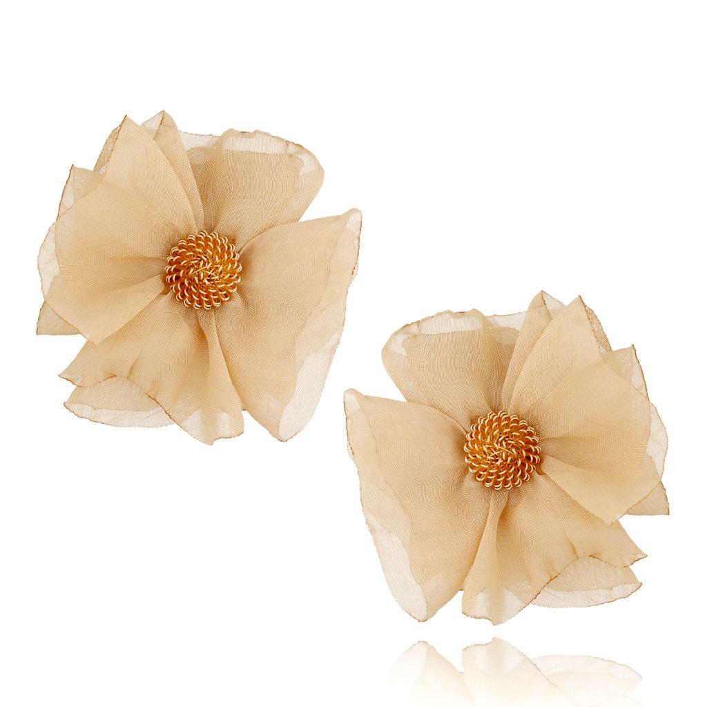 Kolczyki jedwabne kwiaty beżowe KBL0600