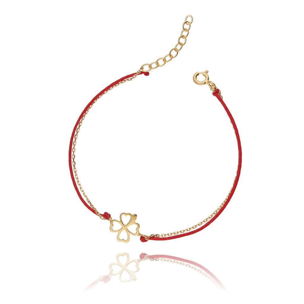 Bransoletka srebrna pozłacana na czerwonym sznurku - koniczynka BSE0049