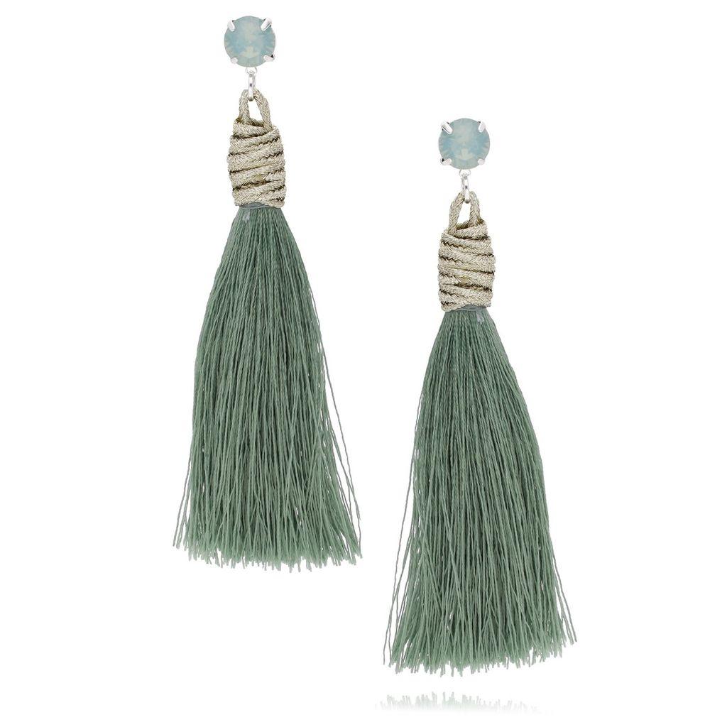 Kolczyki srebrne z zielonym chwostem i cyrkoniami KSS0792