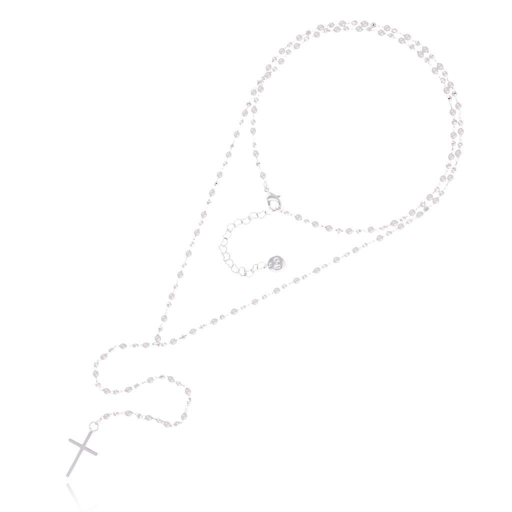 Naszyjnik różaniec Olivia z perełek i srebrnych koralików NOA0016