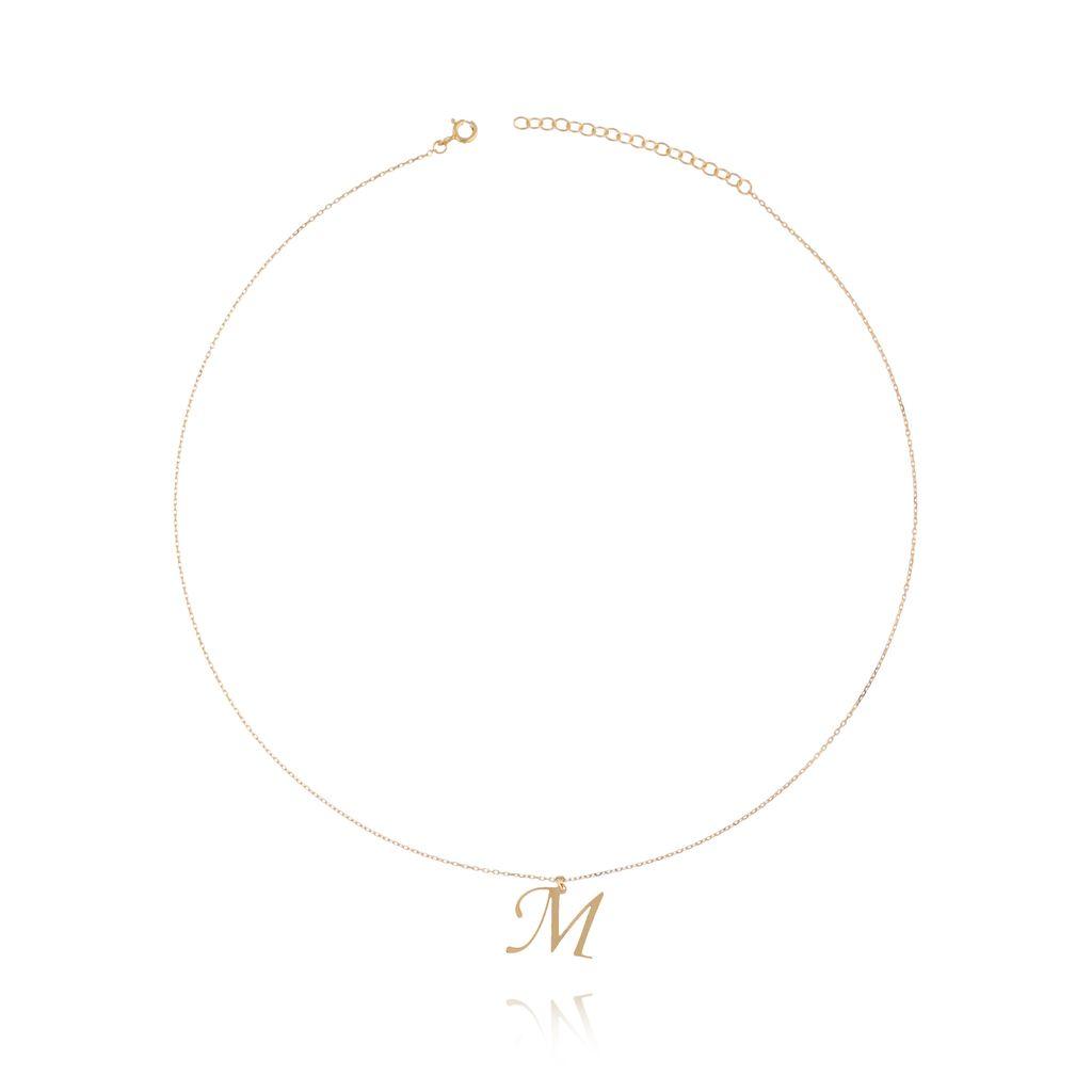 Naszyjnik srebrny pozłacany z literką M NAT0100